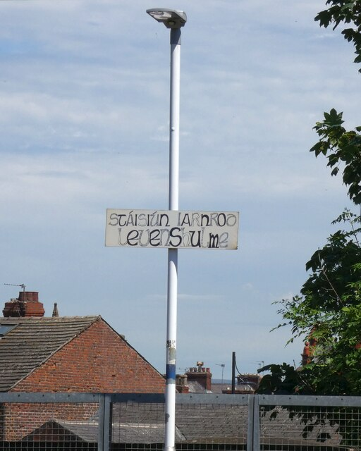 Levenshulme's Gaelic station sign