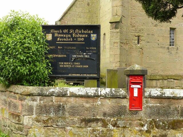 Church notice board and postbox, Mavesyn Ridware