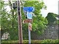 NT3537 : Cycle route signs, Walkerburn by Jim Barton