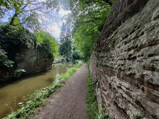 Sandstone cliffs along the canal
