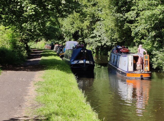 Narrowboats along the Staffordshire and Worcestershire Canal