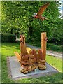 NT0804 : Picnic bench and wood sculpture by Graham Hogg