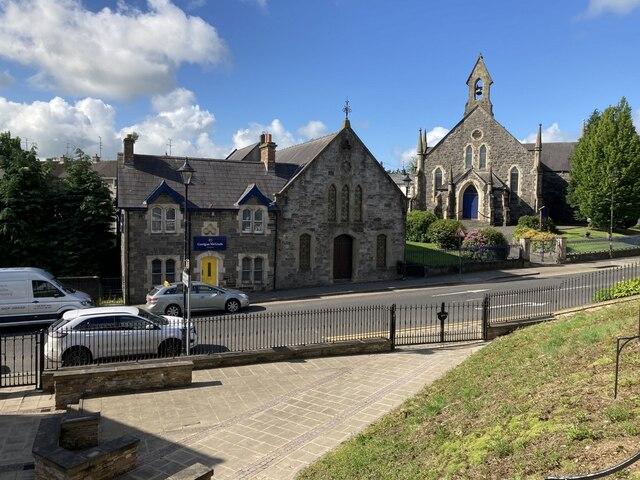 Hall and church along John Street, Omagh
