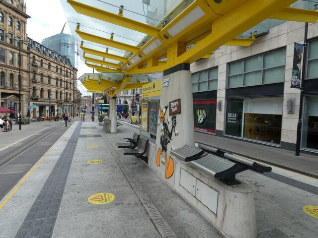 Exchange Square tram stop with Daffy Duck
