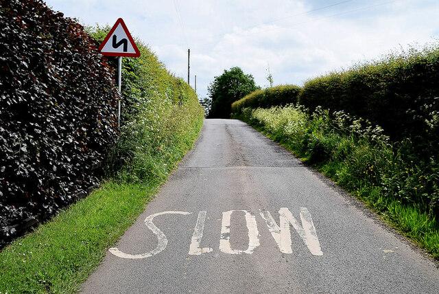 Slow markings along Letfern Road