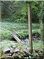 ST5647 : Signed footpaths in Biddle Combe by Neil Owen