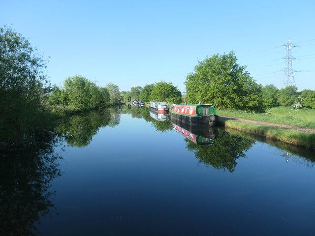 Moored narrowboats, Bridgewater canal, Little Bollington