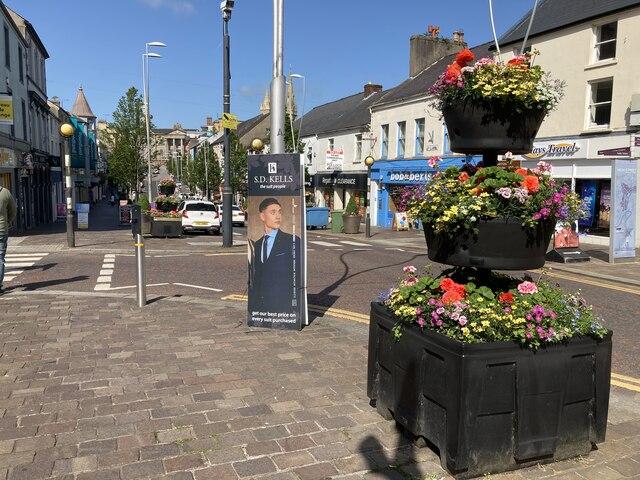 Floral display, Market Street, Omagh