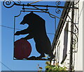 SO3606 : Black Bear Inn name sign, Bettws Newydd, Monmouthshire by Jaggery