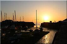 SN4562 : Aberaeron harbour sunset by Peter Evans