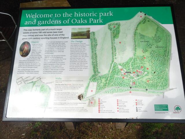 Information Board in Oaks Park