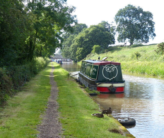 Narrowboat moored along the Shropshire Union Canal