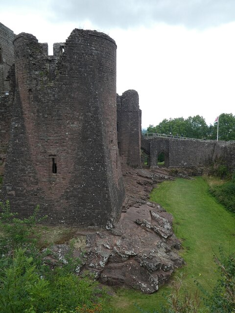 Goodrich Castle - view northwards along the eastern flank