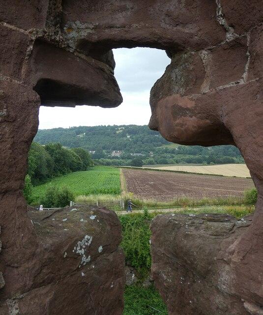 Goodrich Castle - View through arrowslit in East Range