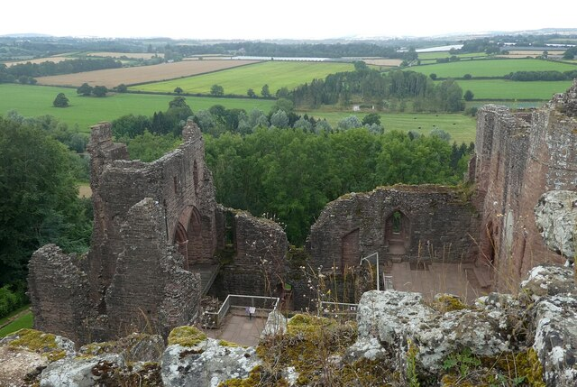Goodrich Castle - view over the castle from the top of the keep