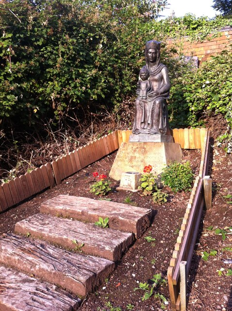 Our Lady of Coventry statue in Priory ruins, Coventry