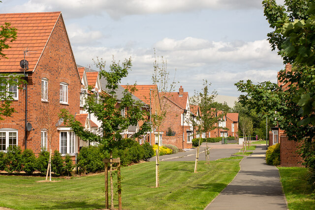 """The footpath through the """"Woodcock Way"""" housing estate, Ashby-de-la-Zouch"""