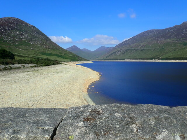 The South-western shores of the seasonally depleted Silent Valley Reservoir