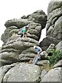 SX7478 : Hound Tor - Rock Climbers by Colin Smith