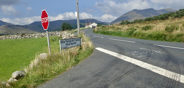 The Attical Bog Road at its junction with the B27 (Moyad Road)