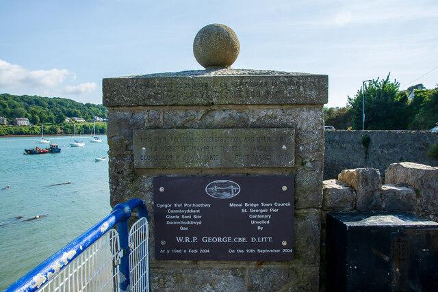 Commemoration plaques at St George's Pier, Menai Bridge