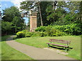 SZ0791 : Bench and water tower, Bournemouth Upper Gardens by Malc McDonald