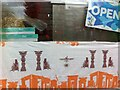 SP3479 : Persepolis paper in window of Iranian delicatessen, Hillfields, Coventry by Alan Paxton