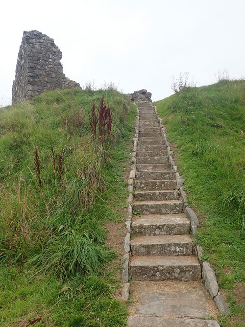 Modern steps linking bailey and motte at Clough Castle