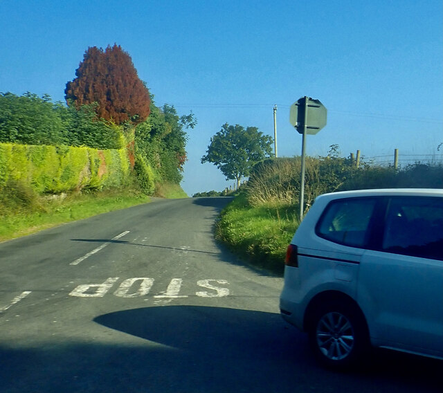 Moneyscalp Road at its junction with the B180 (Hilltown Road)
