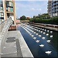 TQ2676 : View of Aether & Hemera's 'Voyage' at Chelsea Creek by J W