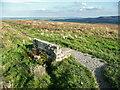 SE0313 : Stone bench seat at a path junction, Slaithwaite by Humphrey Bolton