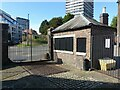 SP3379 : Weighbridge house at the canal basin by Alan Murray-Rust