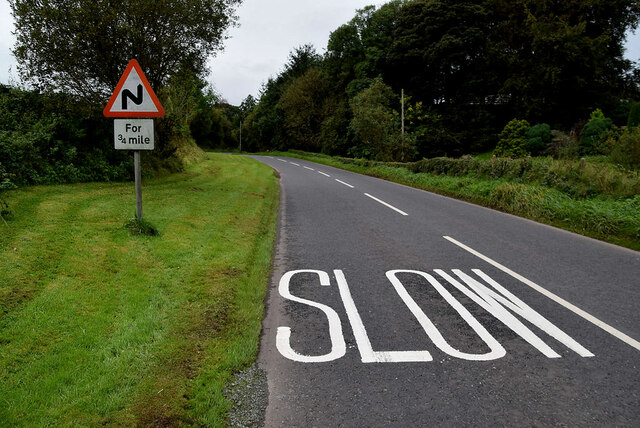 Slow markings along Moylagh Road
