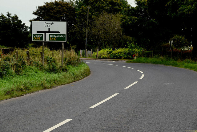 Sign and bend along Moylagh Road