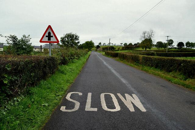 Slow markings along Augher Point Road