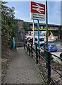 ST1676 : Bilingual railway station name sign, Leckwith Road, Cardiff by Jaggery