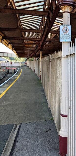 Notice on Barry Island railway station