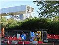 TQ2182 : Construction of HS2 spoil conveyor bridge, Victoria Road by David Hawgood