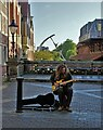 SK9771 : Busker on The High Bridge, Lincoln by Neil Theasby