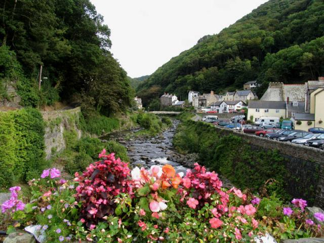 Looking Up the Lyn River at Lynmouth