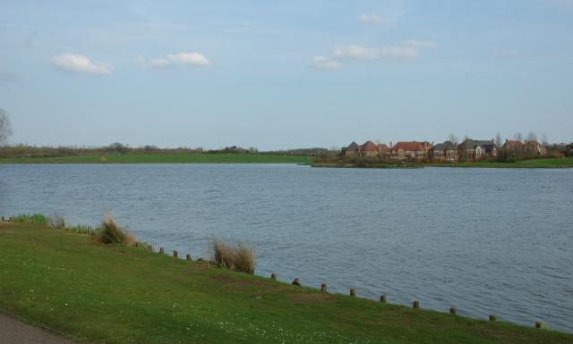 View of Furzton from Shenley Lodge bank of the lake.