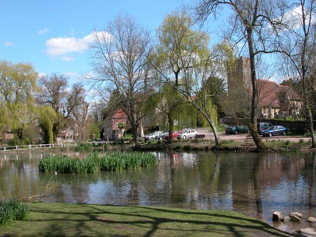 Buriton pond and Church.