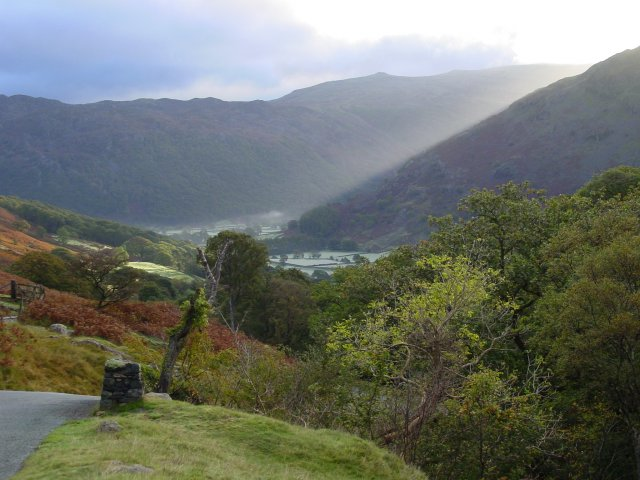 Looking towards Borrowdale from the top of Honister Pass.