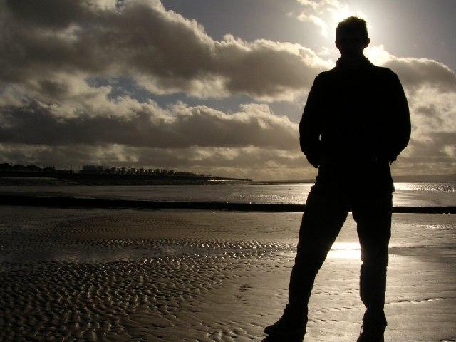 Silhouette at Burnham on Sea beach