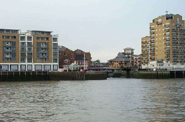 Swing bridge and entrance to Limehouse Basin