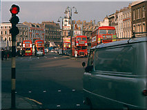 TQ3082 : Corner of St Pancras Road - Euston Road by John Barrett