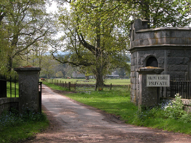 The driveway to Cluny Castle