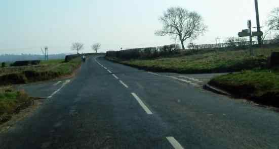 Church Lane crossroads east of Kirby Hill