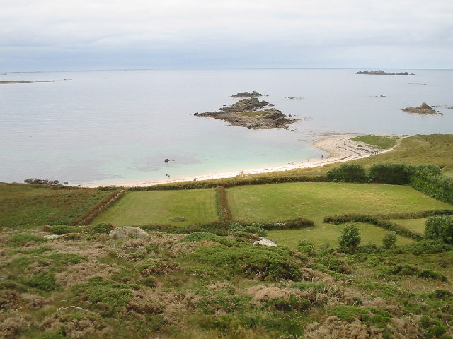 View SW towards Rushy Bay from Samson Hill, Bryher