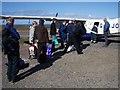 HT9737 : Baggage handling at Foula airstrip by Lis Burke